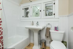 Traditional Full Bathroom with Pedestal sink, Glass panel, tiled wall showerbath, 10 sq. ft. White MDF Beaded Wainscot Panel