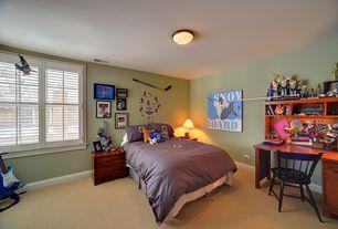Traditional Kids Bedroom with flush light, Carpet