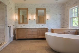 Contemporary Master Bathroom with Shower, vanity Madison Vanity with Double Sink, stone tile floors, Standard height, Bathtub