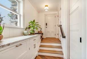 Traditional Entryway with specialty door, European Cabinets, flush light, Inset cabinets, Complex granite counters, One-wall