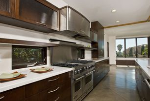 Contemporary Kitchen with Casement, Glass panel, Concrete tile , dishwasher, Flush, European Cabinets, Undermount sink
