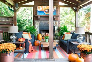 Rustic Porch with Homelegance Factory Rectangle Wood Coffee Table, outdoor pizza oven, Fiesta Tangerine Dinnerware - Set of 5