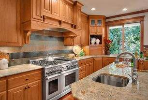 Traditional Kitchen with Shady Grove - Factor One Glass Tiles, Apricot Brandy - Factor One Glass Tiles