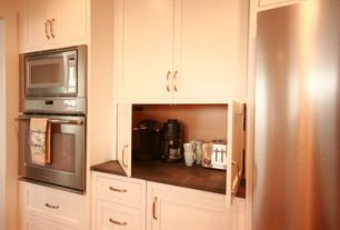 Traditional Kitchen with Built In Refrigerator, Soapstone counters, double wall oven, Paint, One-wall, Standard height