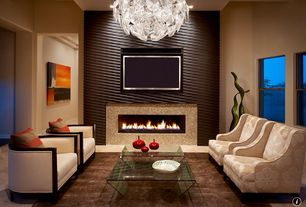 Contemporary Living Room with Modular 3d wall art, Polycarbonate fresnel lenses chandelier, 4 ft gas fireplace, Chandelier