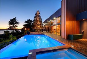 Contemporary Swimming Pool with exterior concrete tile floors, picture window, exterior tile floors