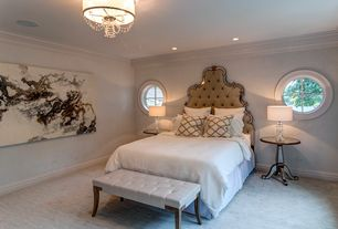 Traditional Master Bedroom with can lights, Carpet, Chandelier, Crown molding, specialty window, Standard height
