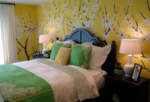 Asian Master Bedroom with Standard height, Ceramic bottle table lamp, interior wallpaper, Concrete floors, Wall decal