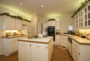 Cottage Kitchen with Raised panel, Glass panel, Crown molding, flush light, Kitchen island, Inset cabinets, Hardwood floors