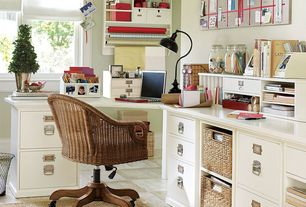 Traditional Home Office with sandstone tile floors, Ikea - branas basket, Standard height, Paint, double-hung window