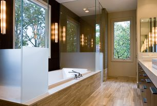 "Contemporary Master Bathroom with Travertine counters, Master bathroom, Vessel sink, Wall sconce, FOSSIL 6"" X 24"" - ROCK"