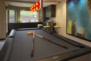 Contemporary Game Room with flush light, Carpet, Olhausen Waterfall Pool Table, Built-in bookshelf, Championship Cloth