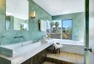 Contemporary Full Bathroom with CandleTEK Wall Sconces with Flameless Candles (Set of 2), slate tile floors, Corian counters