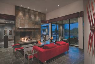 Modern Living Room with MS International Gold Green 12 in. x 12 in. Honed Quartzite Floor and Wall Tile