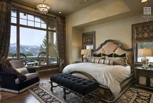 Mediterranean Master Bedroom with Roman shades, Uttermost 29932 Silver Molina Silver Table Lamp, Balcony, interior wallpaper