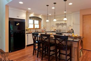 Traditional Kitchen with Limestone Tile, Soapstone counters, Canarm Rowan 1 Light Pendant, Pendant light, Breakfast bar