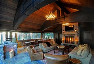 Rustic Porch with Wood ceiling, stone fireplace, Antler chandelier, Arch ceiling, Pottery barn faux antler chandelier