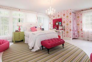 Traditional Guest Bedroom with Chandelier, Casement, Standard height, interior wallpaper, Hardwood floors