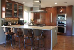 "Contemporary Kitchen with Undermount sink, Range Hood 36"" Plane Island, MS International Bianco Romano Ganite, Flush"