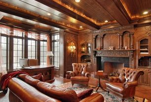 Traditional Home Office with Fireplace mantels wood, Crown molding, stone fireplace, Hardwood floors, Fireplace, Box ceiling