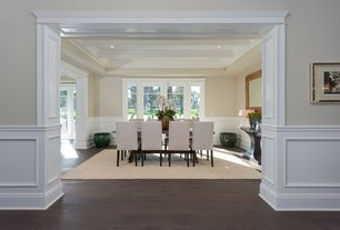 Traditional Dining Room with Wainscotting, Crown molding, Exposed beam, Hardwood floors