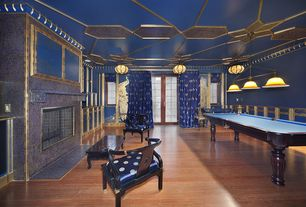 Art Deco Game Room with Pendant light, flush light, Wainscotting, interior wallpaper, Crown molding, Laminate floors
