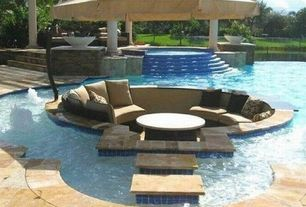 Mediterranean Swimming Pool with Sunbrella contrast outdoor pillow, Treasure garden cantilever tilt offset umbrella