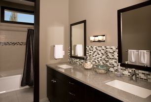 Modern Full Bathroom with Peel and stick murano mosaik decorative wall tile in dune, Flush, European Cabinets, Double sink