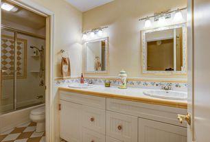 Cottage Full Bathroom with Bathtub, drop in bathtub, partial backsplash, Full Bath, Flat panel cabinets, Flush, Drop-in sink