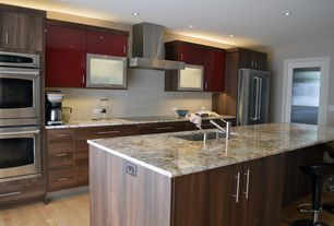 Contemporary Kitchen with Complex granite counters, Double wall oven (stainless steel), Bombo bar stool, French doors