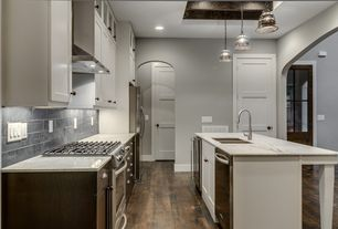 Traditional Kitchen with Glass panel, specialty door, European Cabinets, One-wall, Exposed beam, Wine refrigerator, Flush