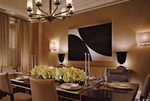 Contemporary Dining Room with Dakota Jackson Grand Dining Table, Holly Hunt Departure Sconce, Crown molding, Chandelier