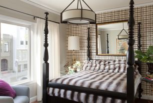 Contemporary Guest Bedroom with Hardwood floors, flush light, Crown molding, interior wallpaper