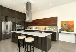 Contemporary Kitchen with Paint 1, Kitchen island, Corian designer white, European Cabinets, gas cooktop, L-shaped, Flush