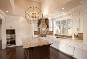 "Contemporary Kitchen with Pendant light, Restoration Hardware Foucault's Orb Crystal Chandelier 32"", Complex granite counters"