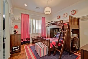 Traditional Kids Bedroom with Hunter douglas newstyle hybrid shutters, Built-in bookshelf, High ceiling, Bunk beds, Art desk