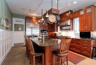 Eclectic Kitchen with Pendant light, slate tile floors, Farmhouse sink, L-shaped, Wainscotting, Flush, Limestone Tile