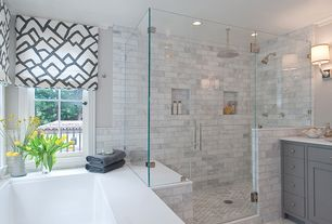 Transitional Master Bathroom with Splashback Tile Oriental 3 in. x 6 in. x 8 mm Marble Wall Tile, Flat panel cabinets, paint3
