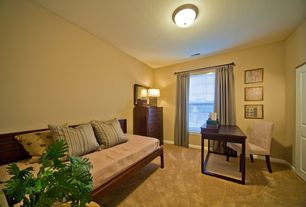 Modern Home Office with Standard height, six panel door, double-hung window, flush light, Carpet