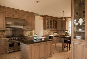 Traditional Kitchen with Wine refrigerator, Kitchen island, Framed Partial Panel, Undermount sink, full backsplash, One-wall