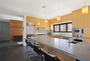 Contemporary Kitchen with Stone Tile, Limestone Tile, L-shaped, Undermount sink, Slate counters, Mr side chair, Flush