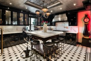 Eclectic Kitchen with L-shaped, Complex marble counters, Breakfast bar, Glass panel, Wall Hood, Raised panel, Vinyl floors