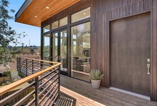 Contemporary Deck with Transom window, Fence, French doors