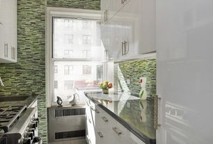 Contemporary Kitchen with European Cabinets, Flush, electric cooktop, One-wall, single dishwasher, Ceramic Tile, gas range