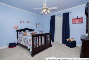 Traditional Kids Bedroom with Crown molding, Carpet, Ceiling fan