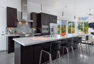 Modern Kitchen with Casement, Paint, Simple granite counters, Kitchen island, European Cabinets, Dcor design ark barstool