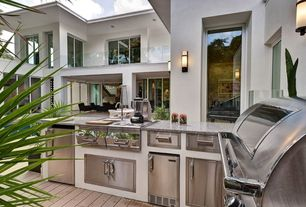 Modern Deck with Sunstone Grills Paper Towel Holder, Custom outdoor kitchen, Fire Magic Select Single Drawer, Outdoor kitchen
