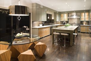 Contemporary Kitchen with Glass panel, Stainless Steel, Limestone counters, Pendant light, Raised panel, Kitchen island