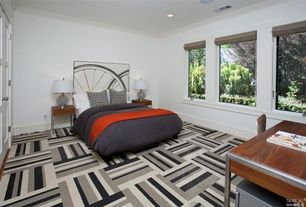 Modern Guest Bedroom with picture window, Carpet, Standard height, Crown molding, can lights, Carpet tiles, Casement