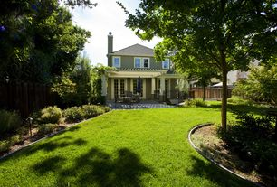 Craftsman Landscape/Yard with Pathway, French doors, Trellis, Fence, exterior tile floors